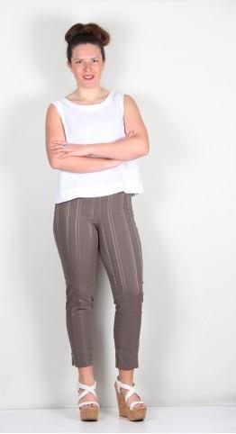 Robell Trousers Bella 09 Seersucker 7/8 Crop Taupe