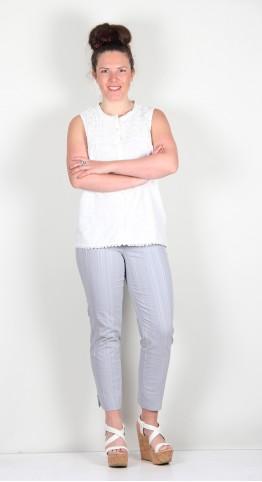 Robell Trousers Bella 09 Seersucker 7/8 Crop Light Grey