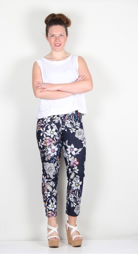Robell Trousers Rose 09 Summer Floral Stretch Denim Jean Navy