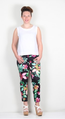 Robell Trousers Rose 09 Abstract Print Orchid Black