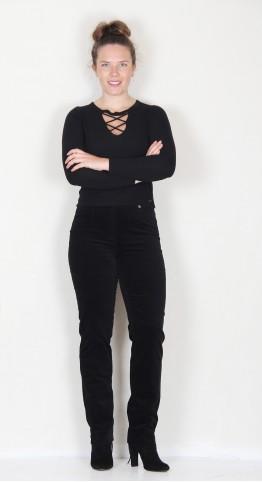 Robell Trousers Marie Full Length Velvet Jet Black