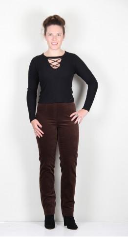 Robell Trousers Marie Full Length Velvet Rich Chocolate