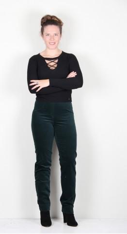 Robell Trousers Marie Full Length Velvet Emerald Green