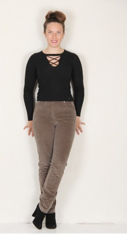 Robell Trousers Bella Fine Cord Taupe