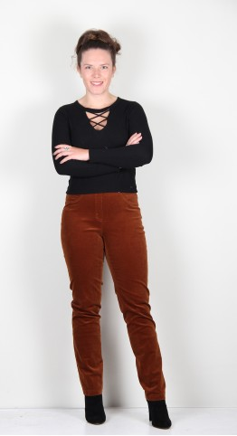 Robell Trousers Bella Fine Cord Toffee