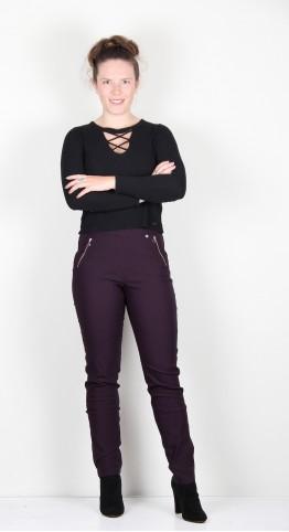 Robell Trousers Nena Fleece Lined Aubergine