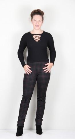 Robell Trousers Rose Tartan Black/Red
