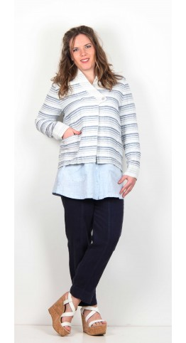 Sahara Clothing Short Ridge Stripe Jacket Indigo