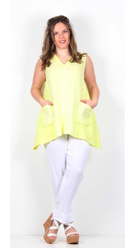 Sahara Clothing Organza Long Line Vest Citrus