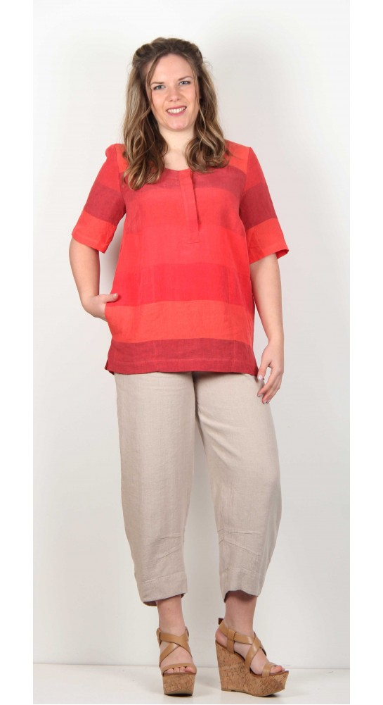 Sahara Clothing Bold Linen Stripe Top
