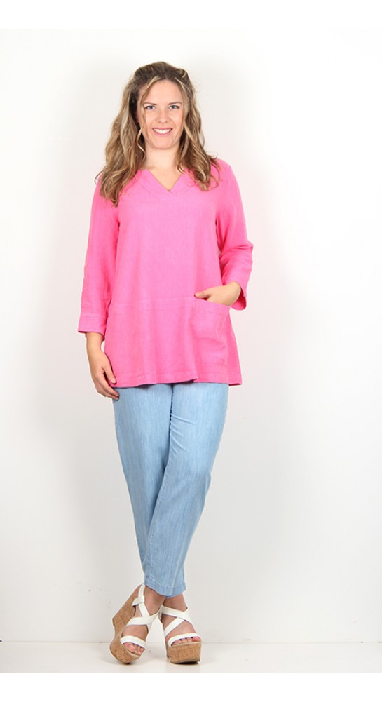 Sahara Clothing Linen Blend Pocket Tunic Cerise