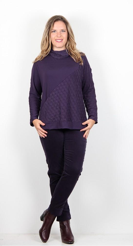Sahara Clothing Panelled Ripple Jersey Top Damson
