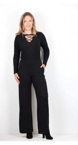 Sahara Clothing Heavy Jersey Palazzo Pant Black