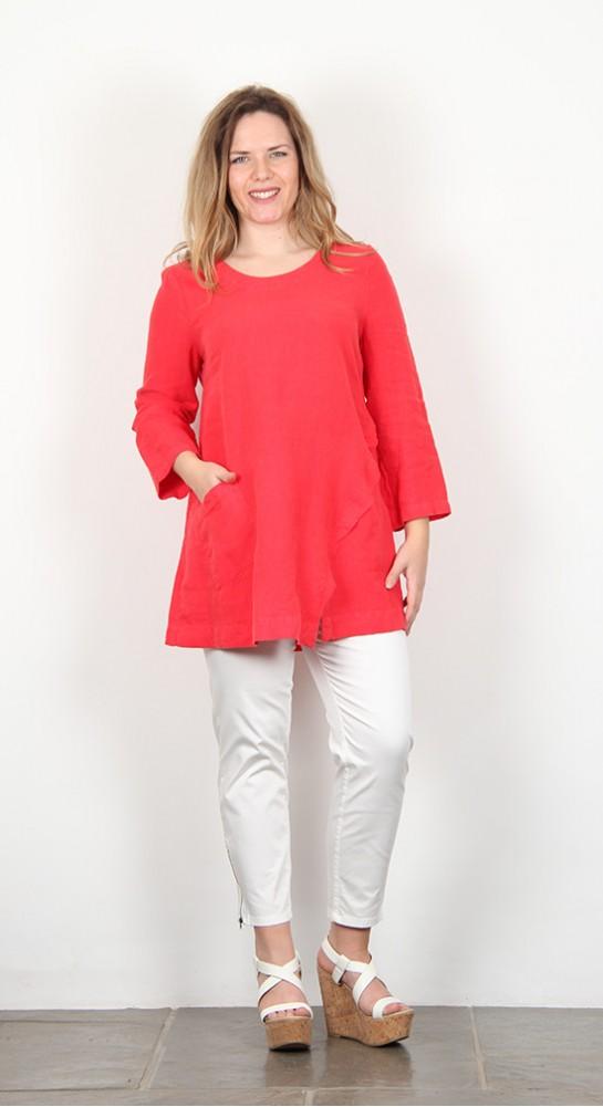 Sahara Clothing Linen Asymmetric Seam Tunic