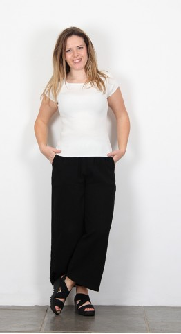 Sahara Clothing Textured Linen Culottes Black