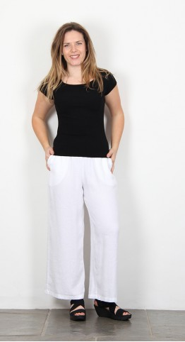 Sahara Clothing Textured Linen Culottes White