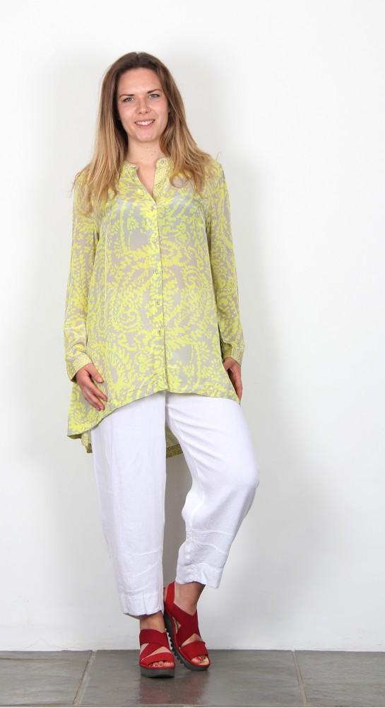 Sahara Clothing Aegean Print Flared Shirt Lime Pewter