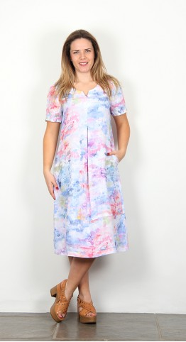 Sahara Clothing Dapple Print Linen Dress Multi