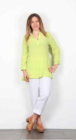 Sahara Clothing Light Crinkle Linen Tunic Keylime