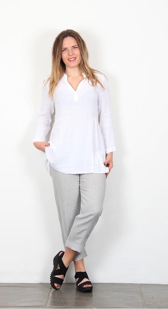 Sahara Clothing Light Crinkle Linen Tunic White