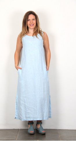 Sahara Clothing Chalk Linen Sleeveless Dress