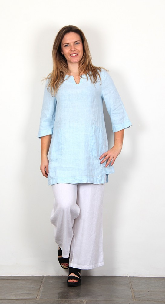 Sahara Clothing Chalk Linen Tunic Ice Blue