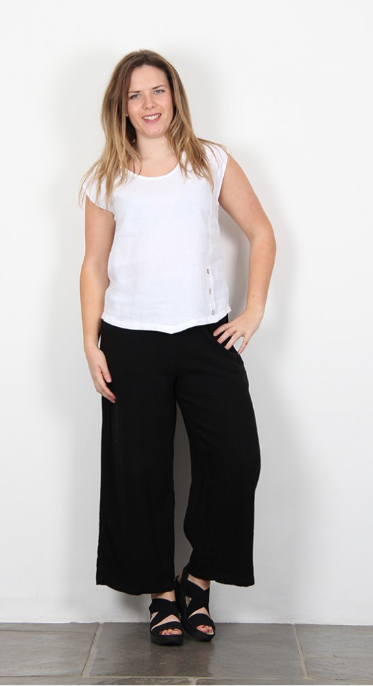 Sahara Clothing Linen Button Detail Top White