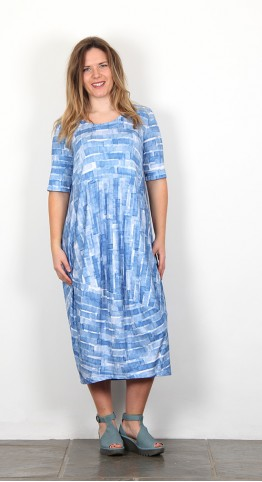 Sahara Clothing Sky Stripe Print Jersey Dress