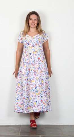 Sahara Clothing Forties Floral Print Linen Dress Multi
