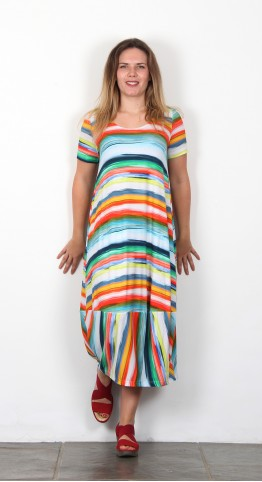 Sahara Clothing Vibrant Stripe Jersey Dress Multi