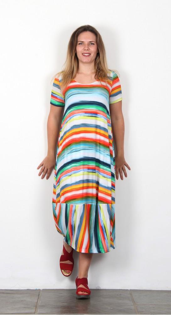 Sahara Clothing Vibrant Stripe Jersey Dress Multi