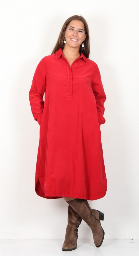 Sahara Clothing Cotton Baby Cord Shirt Dress Chilli