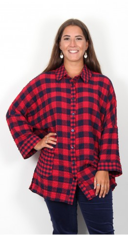 Sahara Clothing Crinkle Gingham Shirt Night Scarlet