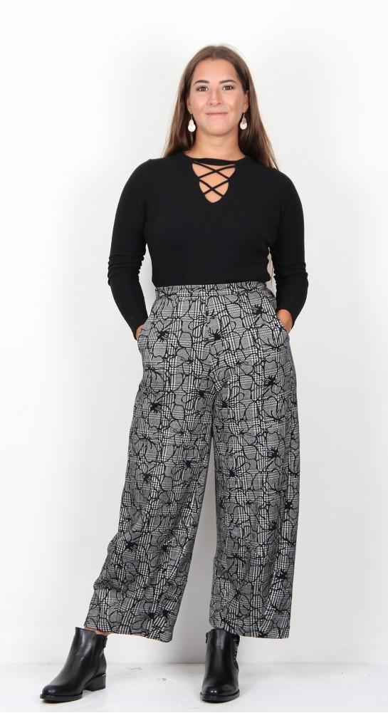 Sahara Clothing Linear Floral Check Trouser Black White
