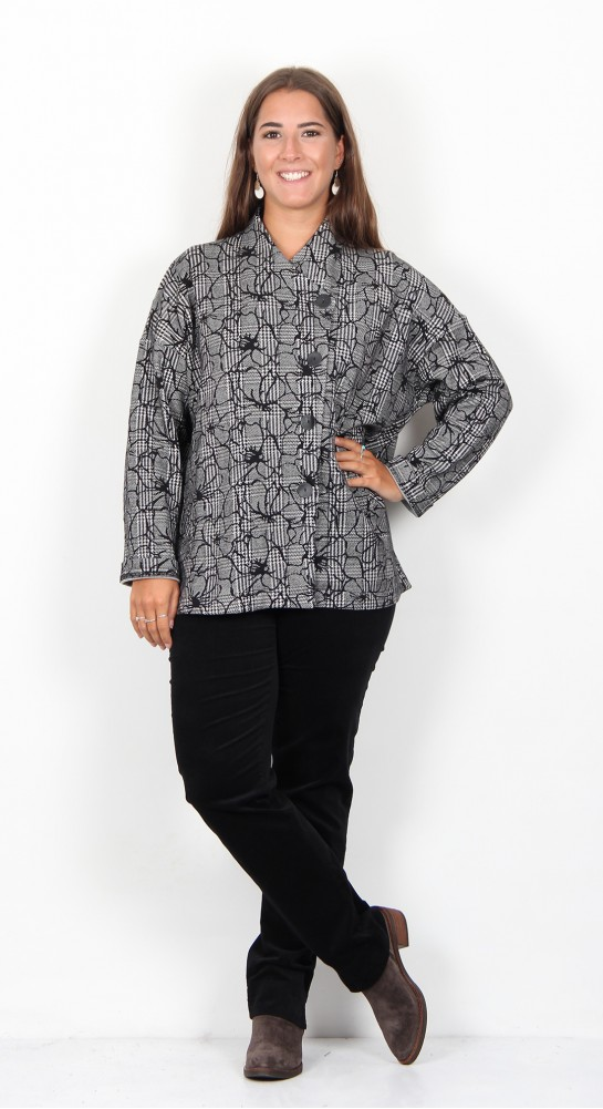 Sahara Clothing Linear Floral Check Jersey Jacket Black White