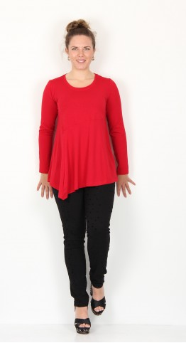Sahara Clothing Heavy Jersey Asymmetric Top Scarlet