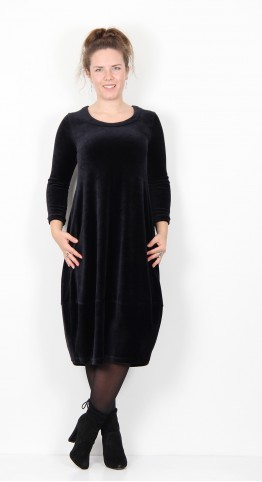 Sahara Clothing Velvet Jersey Bubble Dress Black