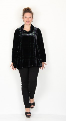 Sahara Clothing Tartan Velvet Cowl Neck Top Multi