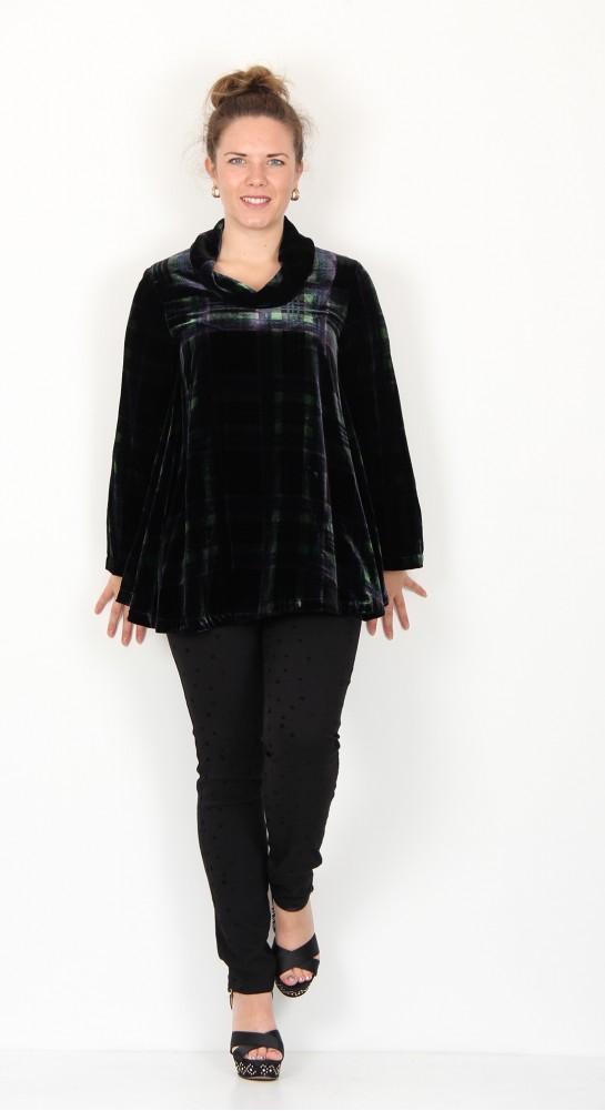 Sahara Clothing Tartan Velvet Cowl Neck Top Multi