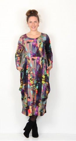Sahara Clothing Brush Stroke Jersey Bubble Dress Multi