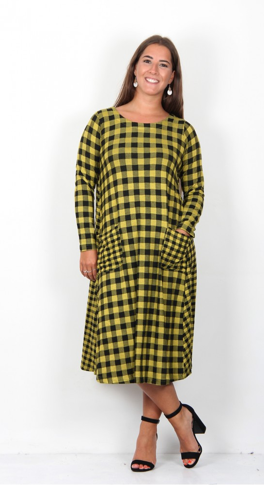 Sahara Clothing Double Check Jersey Dress Ochre Black