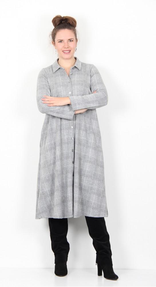 Sahara Clothing Melange Check Jersey Shirt Dress Silver