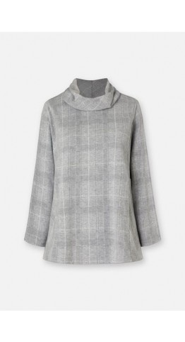 Sahara Clothing Melange Check Jersey Cowl Neck Silver