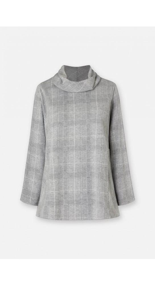 Sahara Clothing Melange Check Jersey Cowl Neck Silver