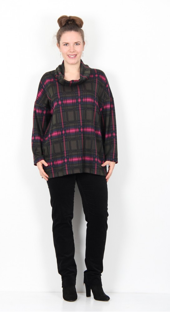 Sahara Clothing Plaid Jersey Cowl Neck Top
