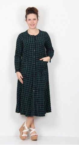 Sahara Clothing Grid Check Shirt Dress Night Leaf