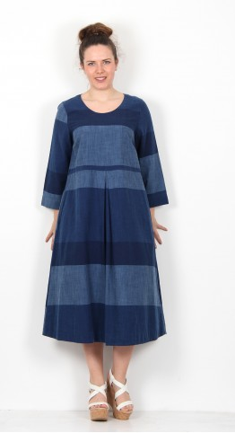 Sahara Clothing Indigo Block Stripe Dress Indigo
