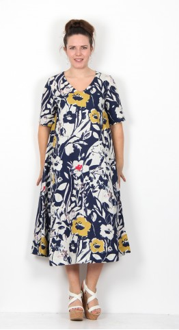 Sahara Clothing Wild Flower Print Linen A-Line Dress