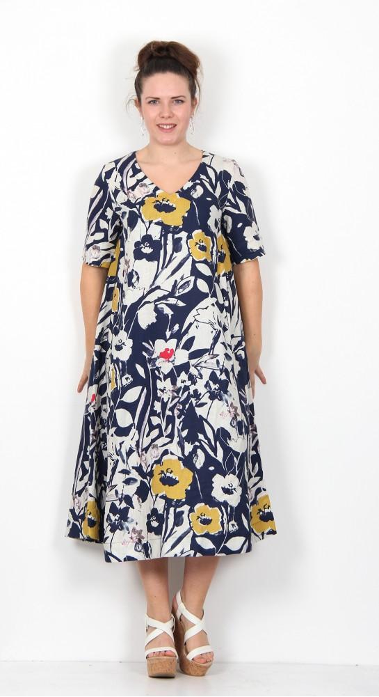 Sahara Clothing Wild Flower Print Linen A-Line Dress