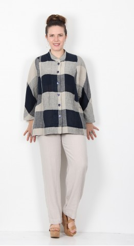 Sahara Clothing Stripe & Check Linen Shirt Night Oyster
